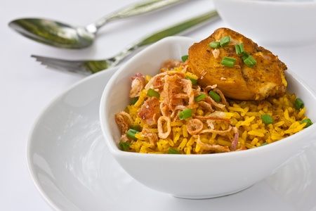 Modern thai food, Saffron rice with chiken photo