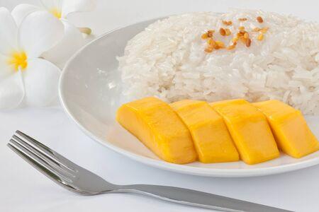 Thai dessert sweet sticky rice with mango photo