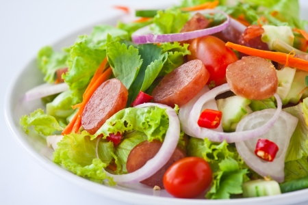 thai fusion food sausage salad spicy-sour dressing Stock Photo
