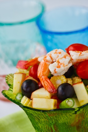 Healthy vegetable and fruit salad with shrimp photo