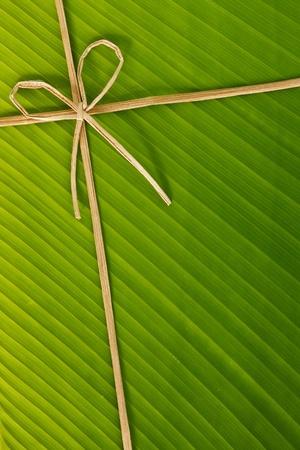 ribbon and rope made from banana bark on banana leaf, global warning concept  photo