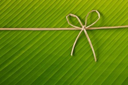 banana leaf: ribbon and rope made from banana bark on banana leaf, global warning concept