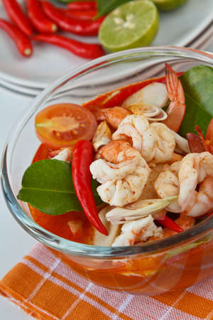 Thai traditional and popular dish ,Sour and spicy shrimp soup  Tomyum Kung Stock Photo - 12669861