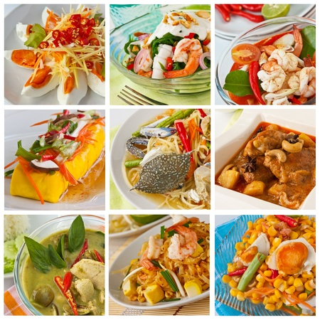 Collage from  Photographs of thai food photo