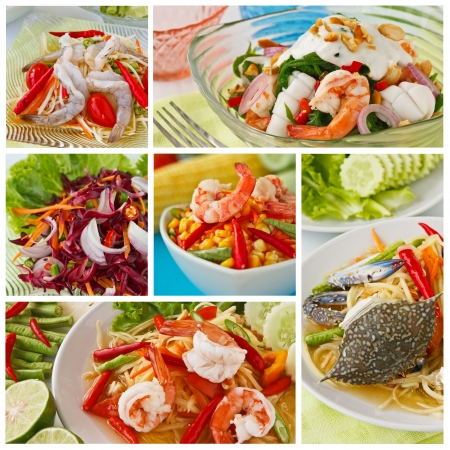 Collage from  Photographs of variety Thai spicy salad  photo