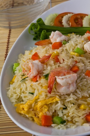 stir fried: An asian style fried rice with shrimp , Popular dish in china and Thailand