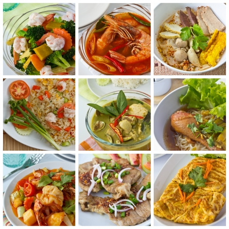 thai noodle soup: Collage from  Photographs of thai food