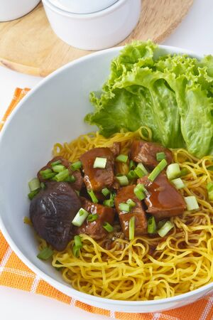 thai noodle soup: Noodles with pork, Poppular food in china and thailand Stock Photo