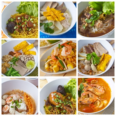 egg noodles: Collage from  Photographs of Thai Noodles