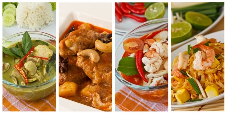 thai fruit: Collage images of popular Thai food (Green curry, Massaman curry, Tom yum kung, Pad Thai) Stock Photo