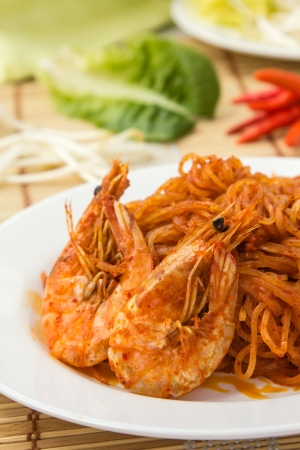 Thai Food of the South, Stir Fried Rice noodles with Curry-Coconut Peanut Sauce  and Shrimps (Pad Mee Kati) Stock Photo - 17773719