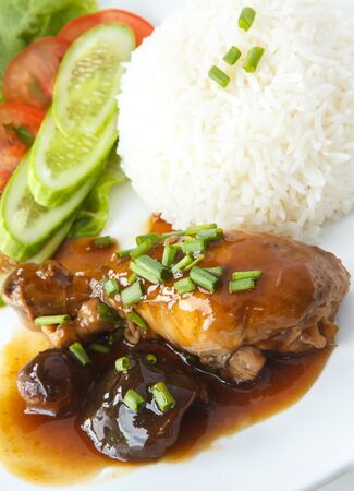 shiitake: Delicious Thai Dishes, Thai style Chicken stew with Shiitake mushrooms and Steamed rice.