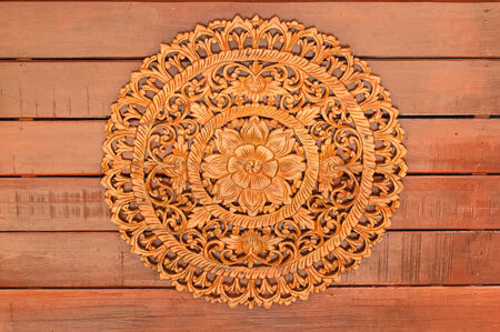 Thai style Teak wood carving temple decorate in Thailand Stock Photo - 27568848