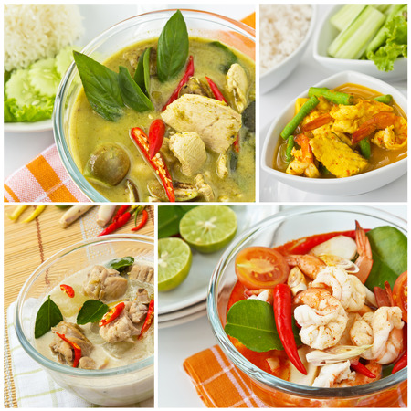 popular soup: Collage photos of popular Thai food  Chicken green curry,Spicy and sour fish ragout, Coconut soup with chicken and galanga, Shrimp and lemon grass soup   Stock Photo