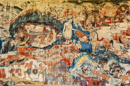 wall mural: Over 300 year old mural paintings in Buak Khrok Luang  Temple  Chiangmai  Thailand.