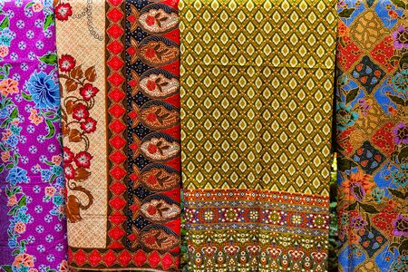 pattern: Colorful of Thai traditional fabric background.