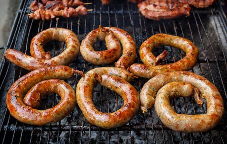 spicy cooking: Homemade  Northern Thai Sausage On The Grill. Stock Photo