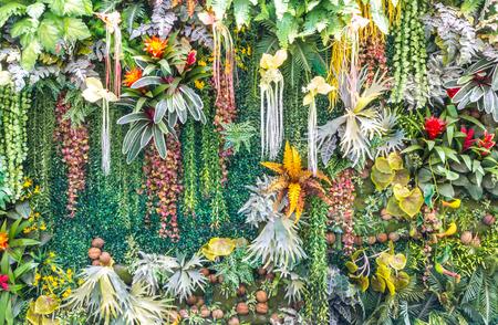 verticales: Artificial Jardín Vertical y plantas falsas en las paredes. Foto de archivo