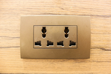 wall socket: Electric Outlet Wall Socket Plug Receptacle Stock Photo