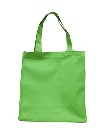 reusable: Borsa in cotone verde su sfondo bianco isolato Archivio Fotografico