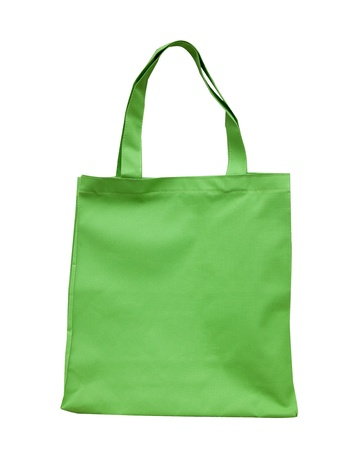 green cotton bag on white isolated background