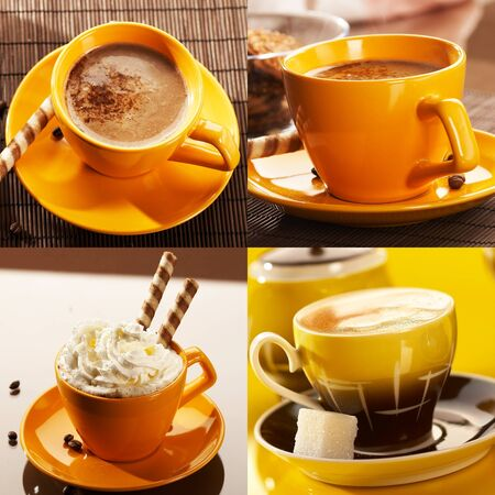 collection of yellow cup coffee  photo