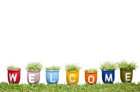 welcome word made from Jardiniere on white background