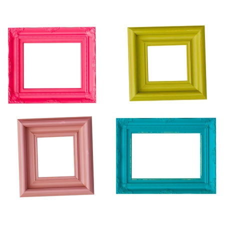 background pictures: four photo frames on the white wall  Stock Photo