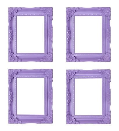 Four purple  picture frames photo