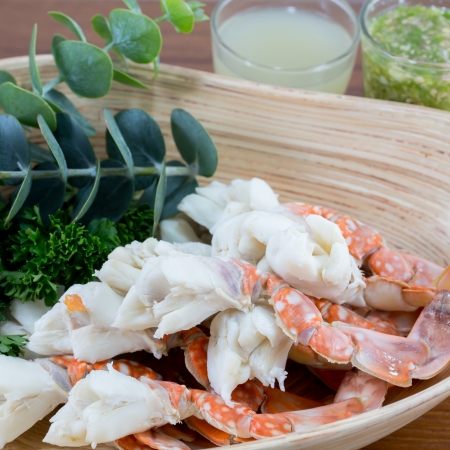 Steamed Crab Legs with Thai spicy seafood sauce photo