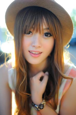 japanese gardens: Beautiful asian girl Stock Photo