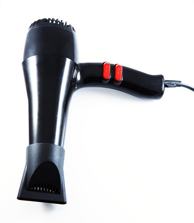 black Hair dryer isolated on white Stock Photo