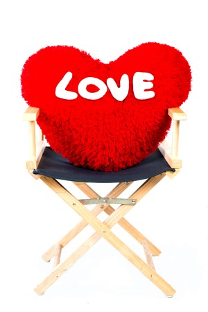 Red Pillow Heart Shaped On Chair In Isolated In White Stock Photo   30891459