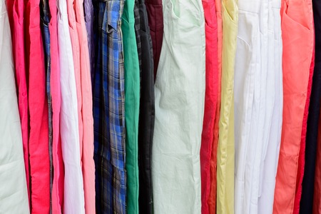 colorful pants on the hanger
