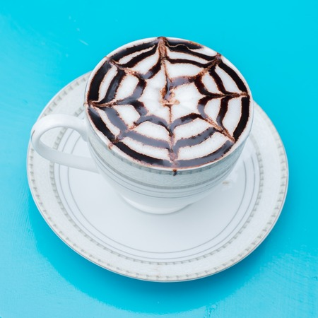 mocca: a cup of latte-art hot coffee mocca latte