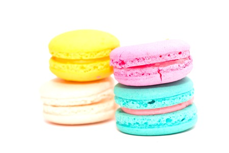 maroni: Macarons on the white background Stock Photo