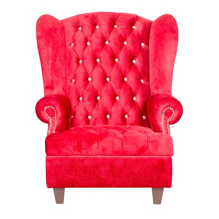 red leather: red leather armchair isolated on white. Stock Photo