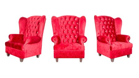 leather armchair: red leather armchair isolated on white. Stock Photo