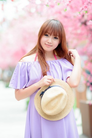 japanese gardens: Beautiful asian girl in park