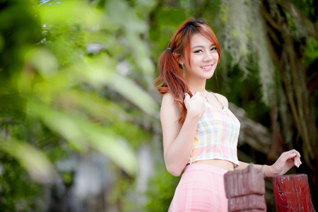girl with glasses: Beautiful asian girl Stock Photo