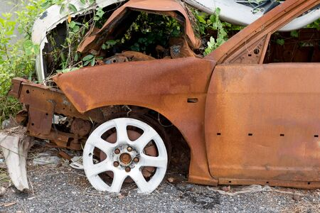 demolished: the condition of the car was demolished after the accident collided violently.