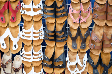 sandals: leather sandals in shop
