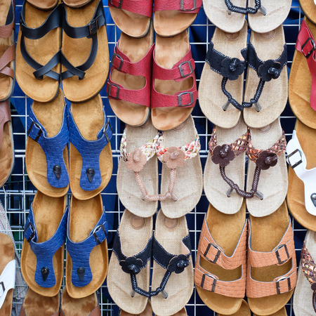 soft sell: leather sandals in shop