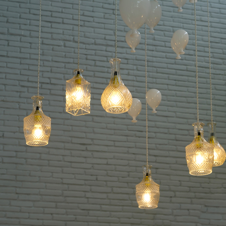 Incandescent lamps in a modern cafe Stock Photo