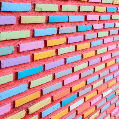 Brick wall painted full color Stock Photo - 71291593