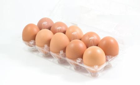 Fresh eggs pack isolated on white background, stock photo photo