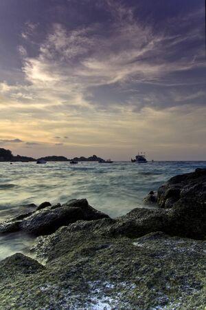 Twilight sea, similan national park, south of thailand Stock Photo - 7090786