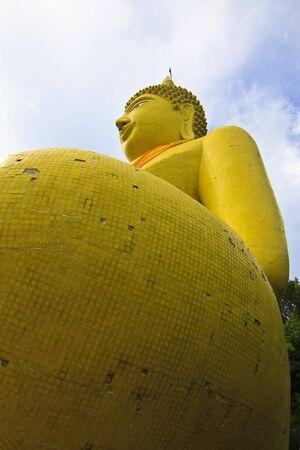 Huge yellow buddha statue at si-change island