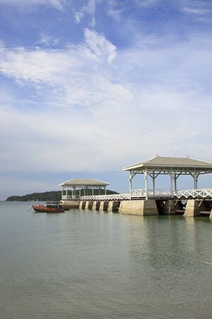 Wooden pier at si-chang island, thailand
