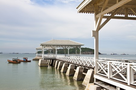 Wooden pier at si-chang island, thailand photo